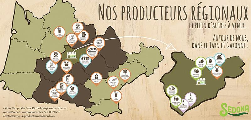 Carte des producteurs Sedona