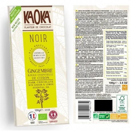 CHOCOLAT NOIR GINGEMBRE/CITRON 100G KAOKA