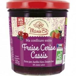 CONFITURE FRAISE CERISE CASSIS 320G MAMIE BIO
