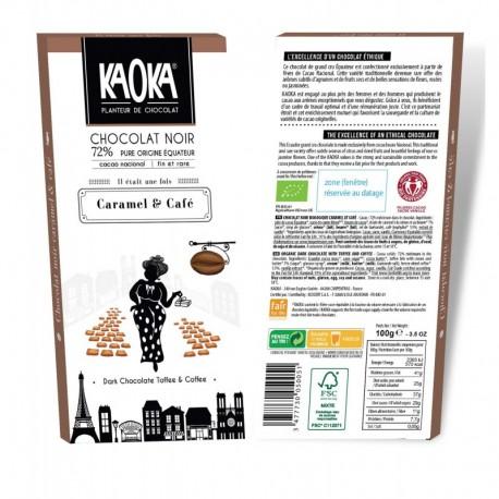 CHOCOLAT NOIR 72% CAFE CARAMEL 100G