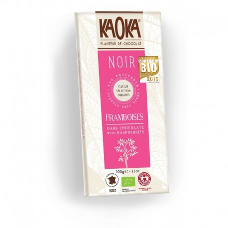 CHOCOLAT KAOKA NOIR FRAMBOISES 100G