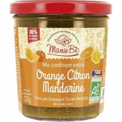 CONFITURE EXTRA ORANGE CITRON MANDARINE 320G MAMIE BIO