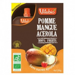 GOURDE 100% FRUITS POMME-MANGUE-ACROLA 4X120G VITABIO