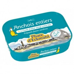 ANCHOIS ENTIERS* HUILE OLIVE 1/6 87G ECKM*