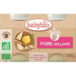 POT BEBE POIRE WILLIAMS 2X130G 4 MOIS BABYBIO
