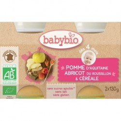 POT BEBE POMME ABRICOT CEREALE 2X130G 4 MOIS BABYBIO