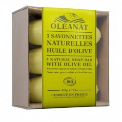 SAVONNETTES HUILE OLIVE 3X 150G OVOIDE BARQUETTE