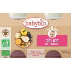 POT BEBE DELICE DE FRUITS 2X130G 6 MOIS BABYBIO