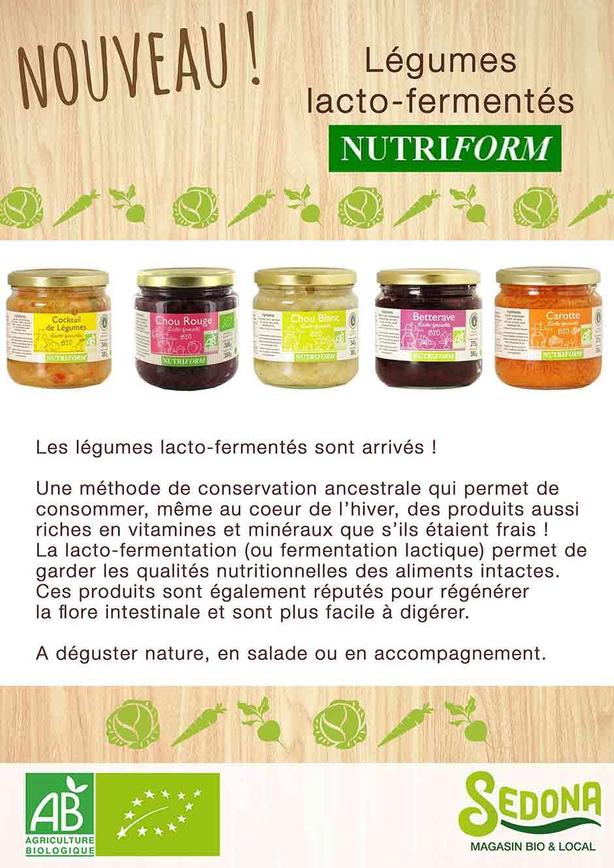 légumes lacto-fermentés nutriform chez Sedona