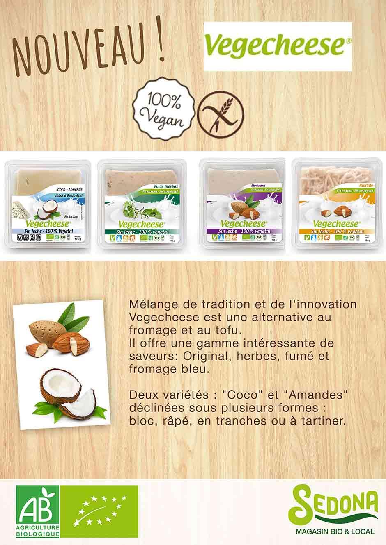 nouveau chez  Sedona les produits vegecheese coco et amandes.